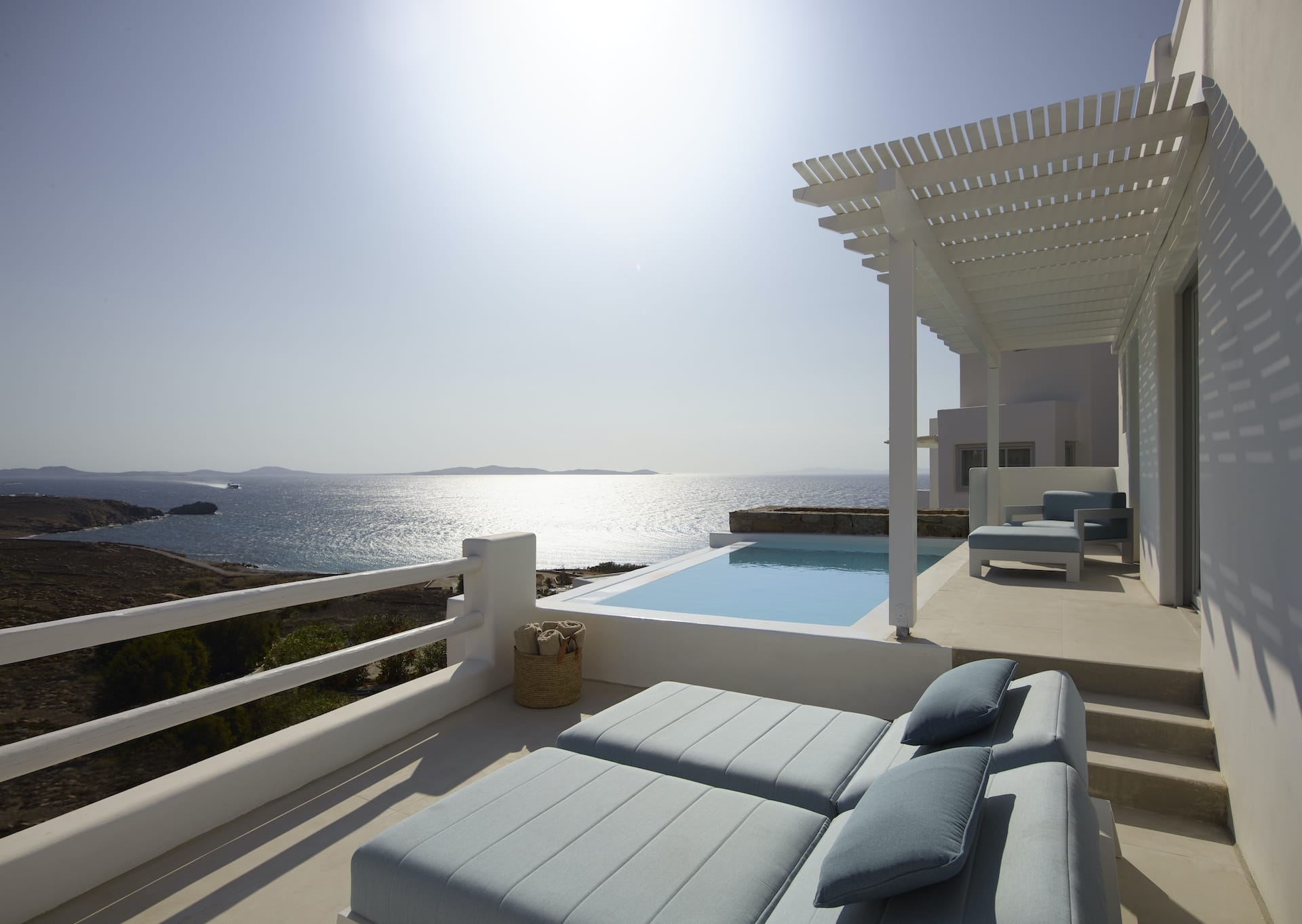 The Epic Blue Two-Bedroom Villa in Houlakia Bay with a large private pool and plenty of terraces.