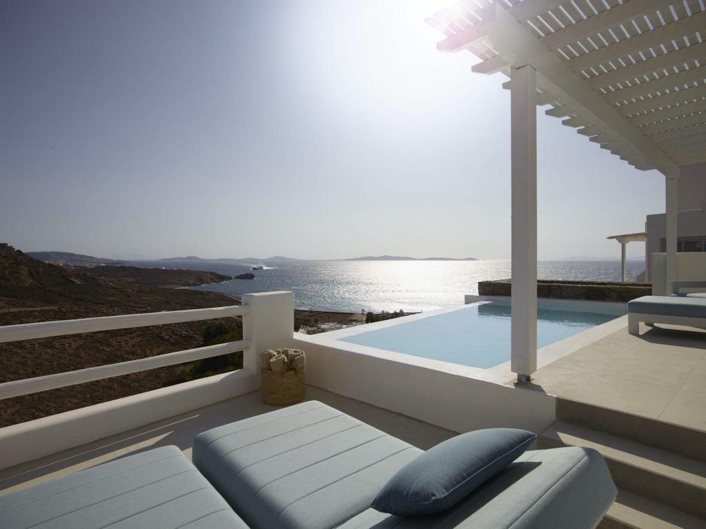 Seaview luxury hotel in Houlakia, Mykonos