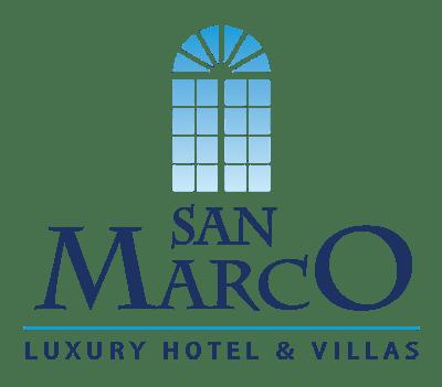 The San Marco Mykonos Hotel logo. A window pattern in blue, cyan and dark blue hues.